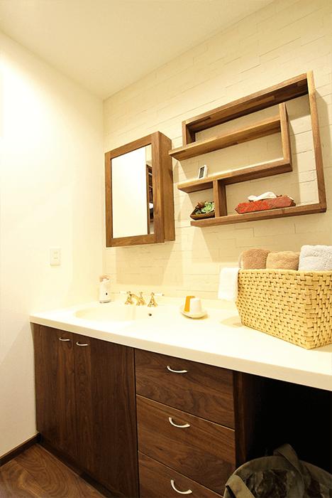 兵庫県の造作家具の洗面所